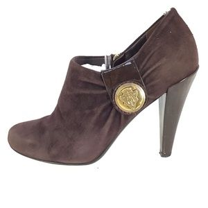 Gucci Dark Plum Hysteria Logo Ankle Booties